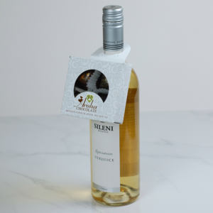 Four Aroha Chocolate Hearts Wine Bottle Neck Box On Bottle 2