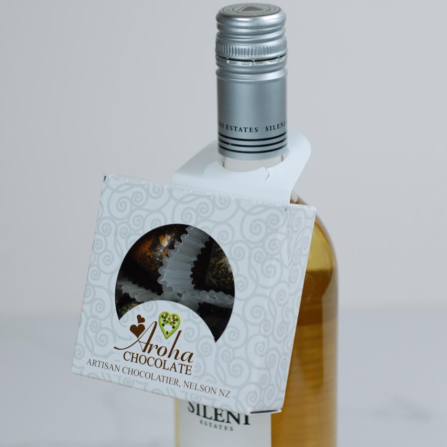 Four Aroha Chocolate Hearts Wine Bottle Neck Box On Bottle 1