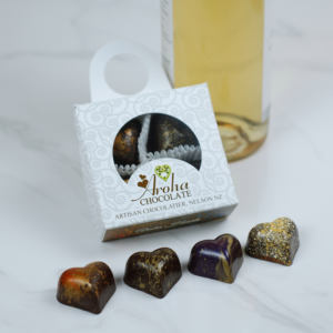 Four Aroha Chocolate Hearts Wine Bottle Neck Box