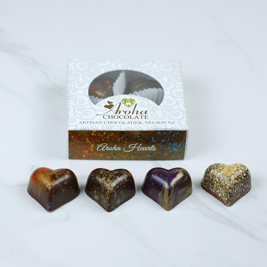 Four Aroha Chocolate Hearts
