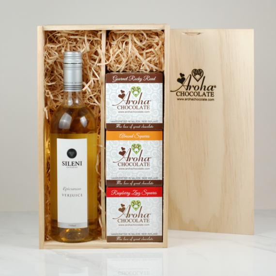 Aroha Chocolate Wine Gift Box with bottle